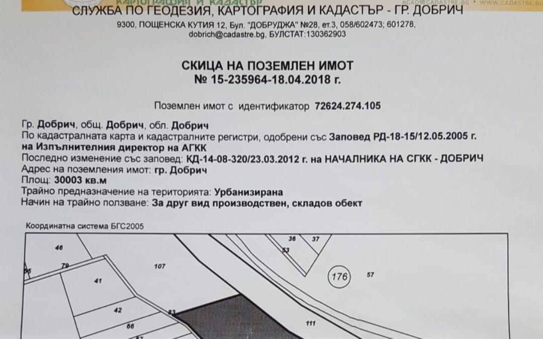 Парцел за промишлено строителство и друг бизнес в гр.Добрич.